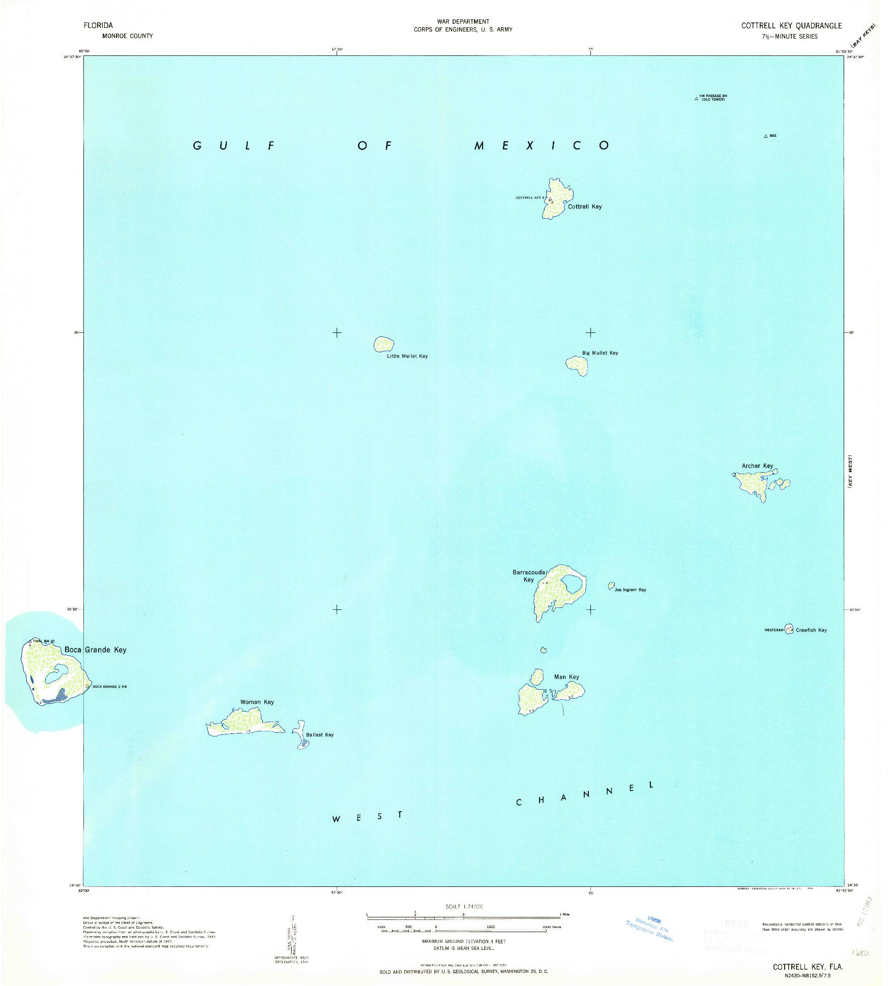 USGS 1:24000-SCALE QUADRANGLE FOR COTTRELL KEY, FL 1963