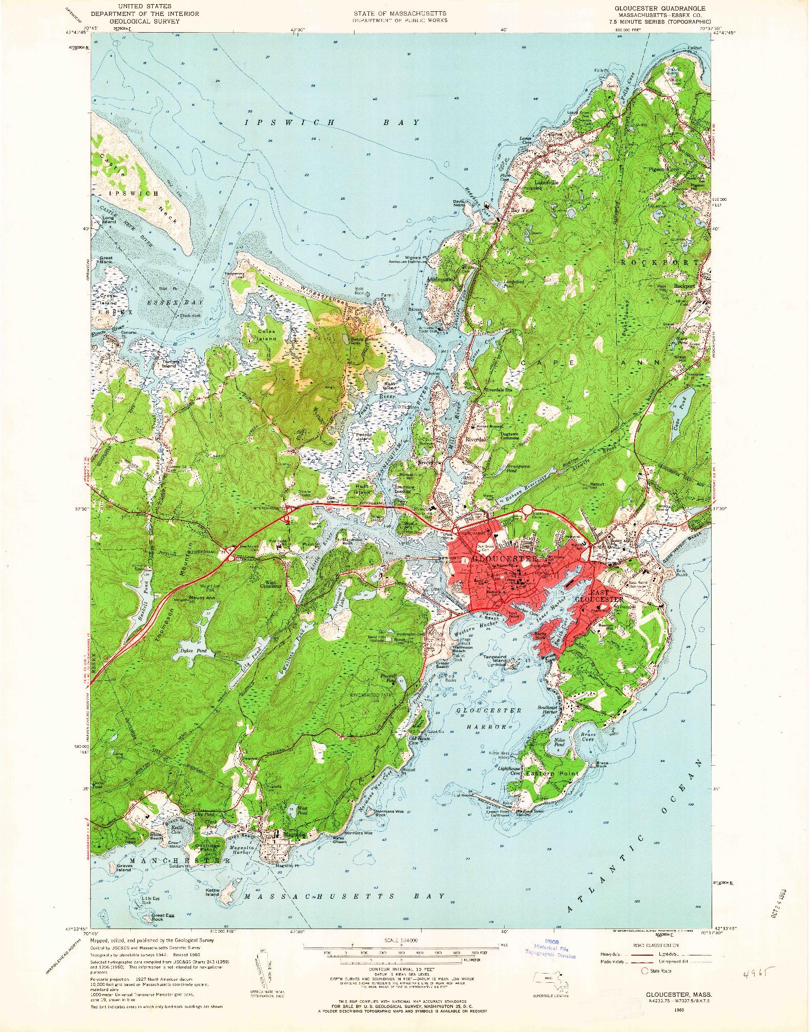 USGS 1:24000-SCALE QUADRANGLE FOR GLOUCESTER, MA 1960