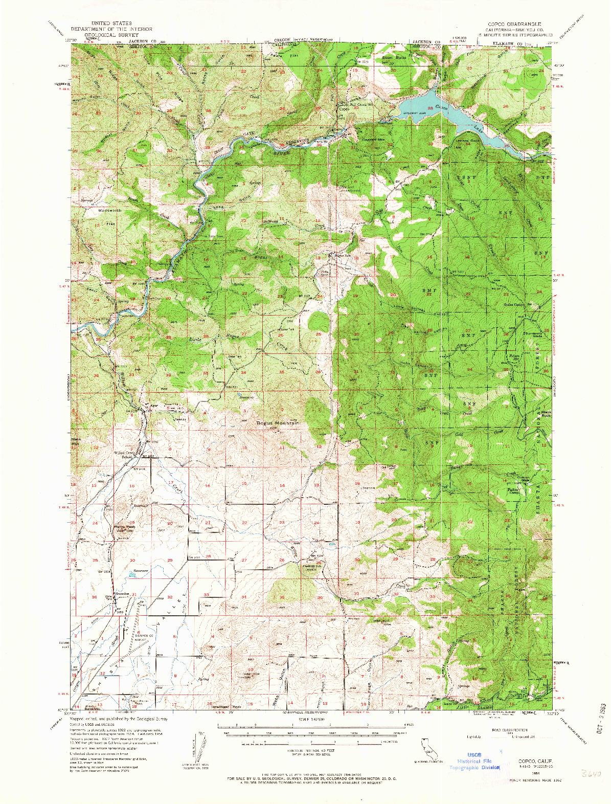 USGS 1:62500-SCALE QUADRANGLE FOR COPCO, CA 1954