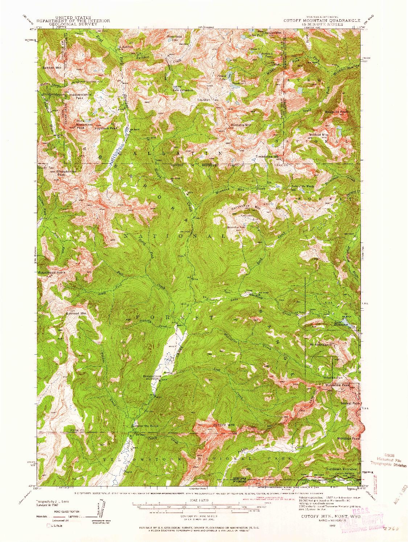 USGS 1:62500-SCALE QUADRANGLE FOR CUTOFF MTN, MT 1942