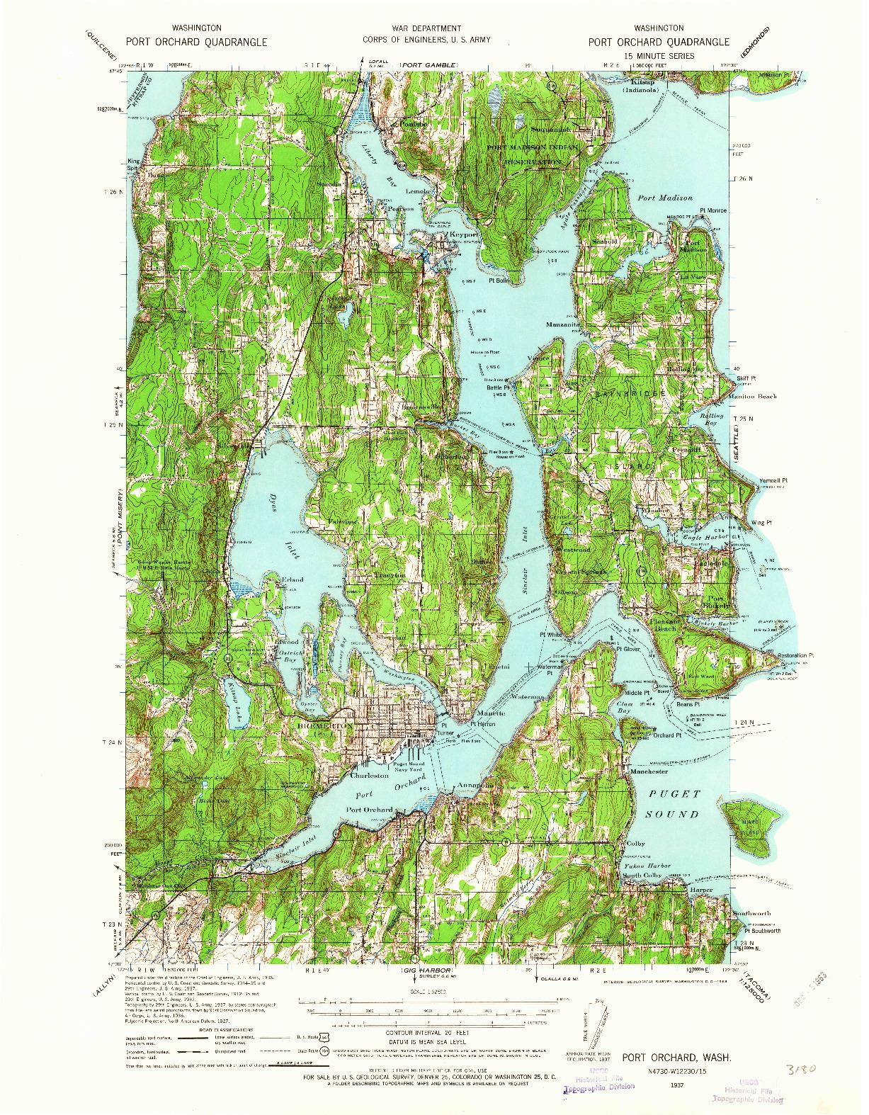 USGS 1:62500-SCALE QUADRANGLE FOR PORT ORCHARD, WA 1937