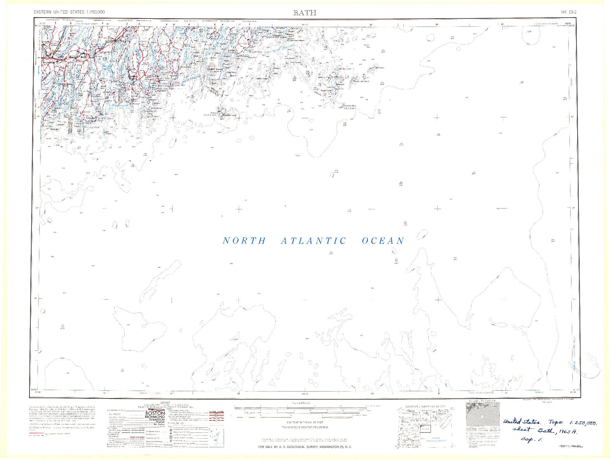 USGS 1:250000-SCALE QUADRANGLE FOR BATH, ME 1963