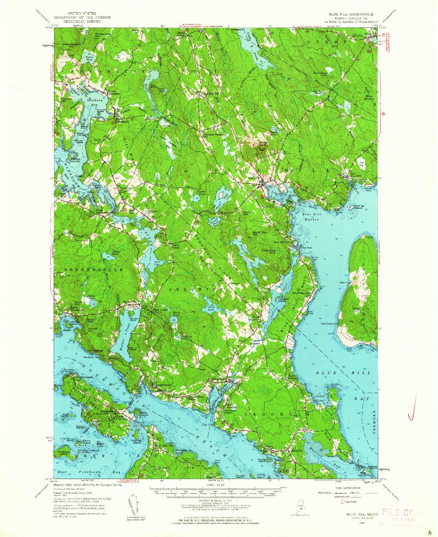 USGS 1:62500-SCALE QUADRANGLE FOR BLUE HILL, ME 1957