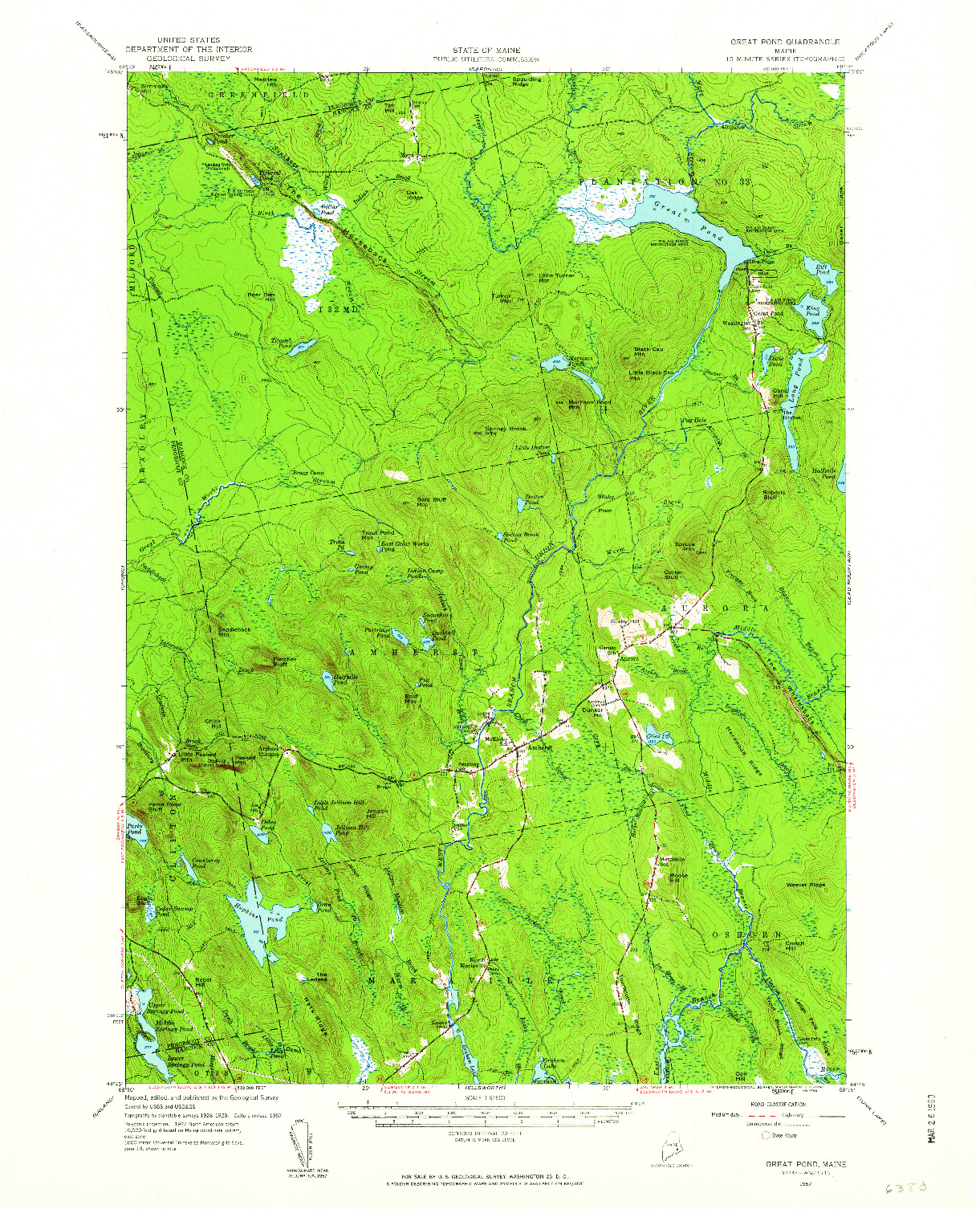 USGS 1:62500-SCALE QUADRANGLE FOR GREAT POND, ME 1957