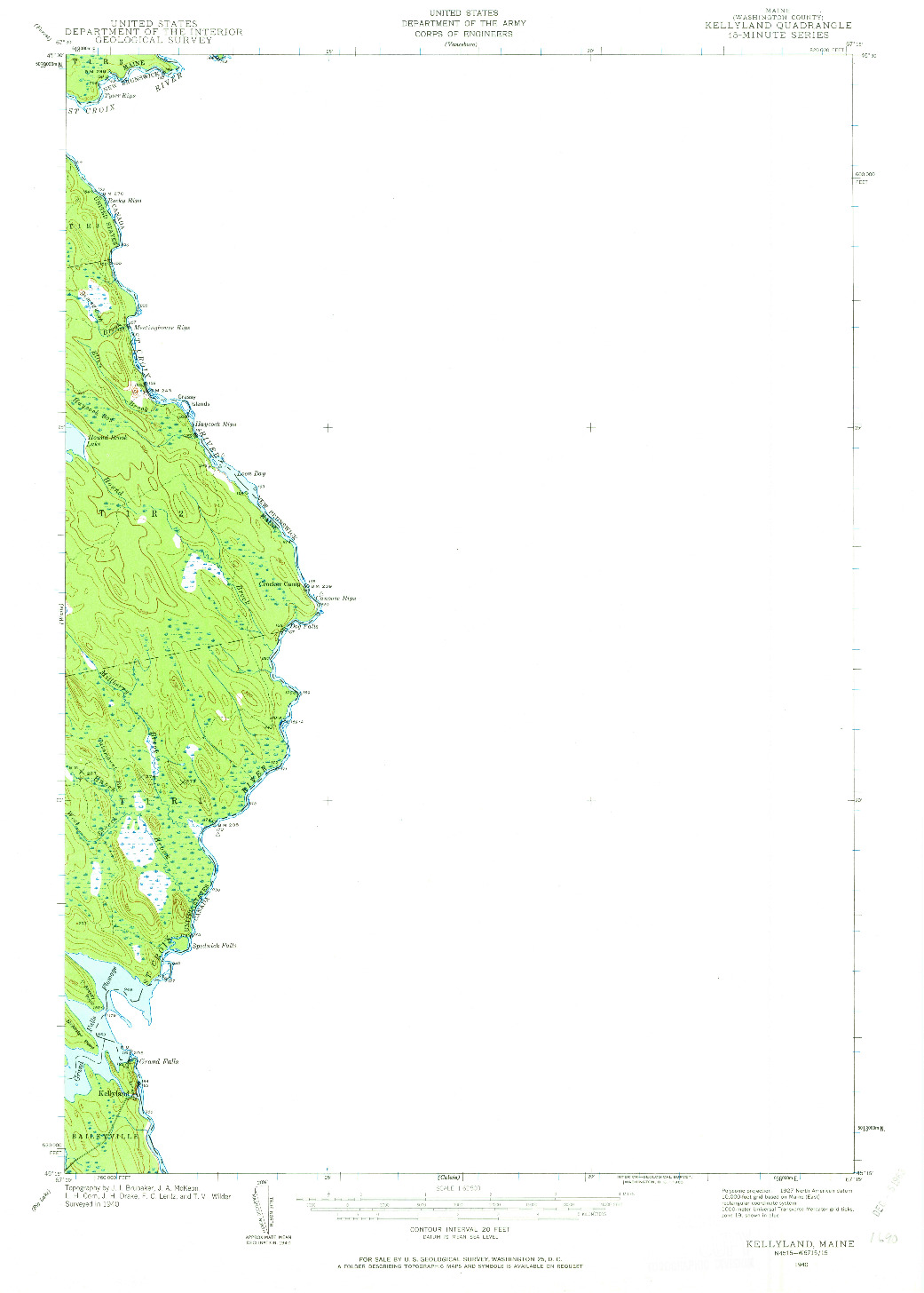 USGS 1:62500-SCALE QUADRANGLE FOR KELLYLAND, ME 1940