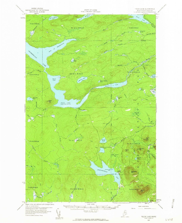 USGS 1:62500-SCALE QUADRANGLE FOR TELOS LAKE, ME 1957