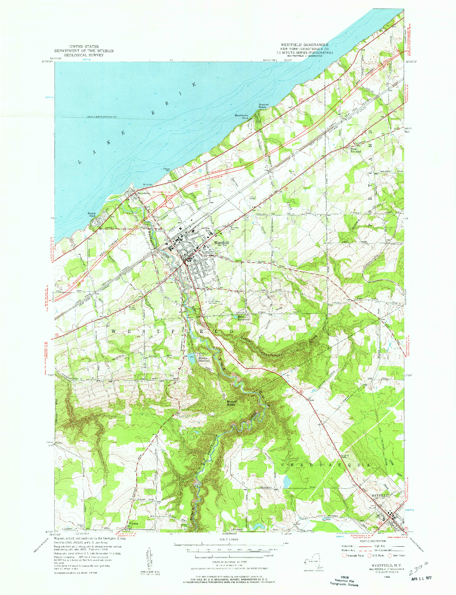 USGS 1:24000-SCALE QUADRANGLE FOR WESTFIELD, NY 1954
