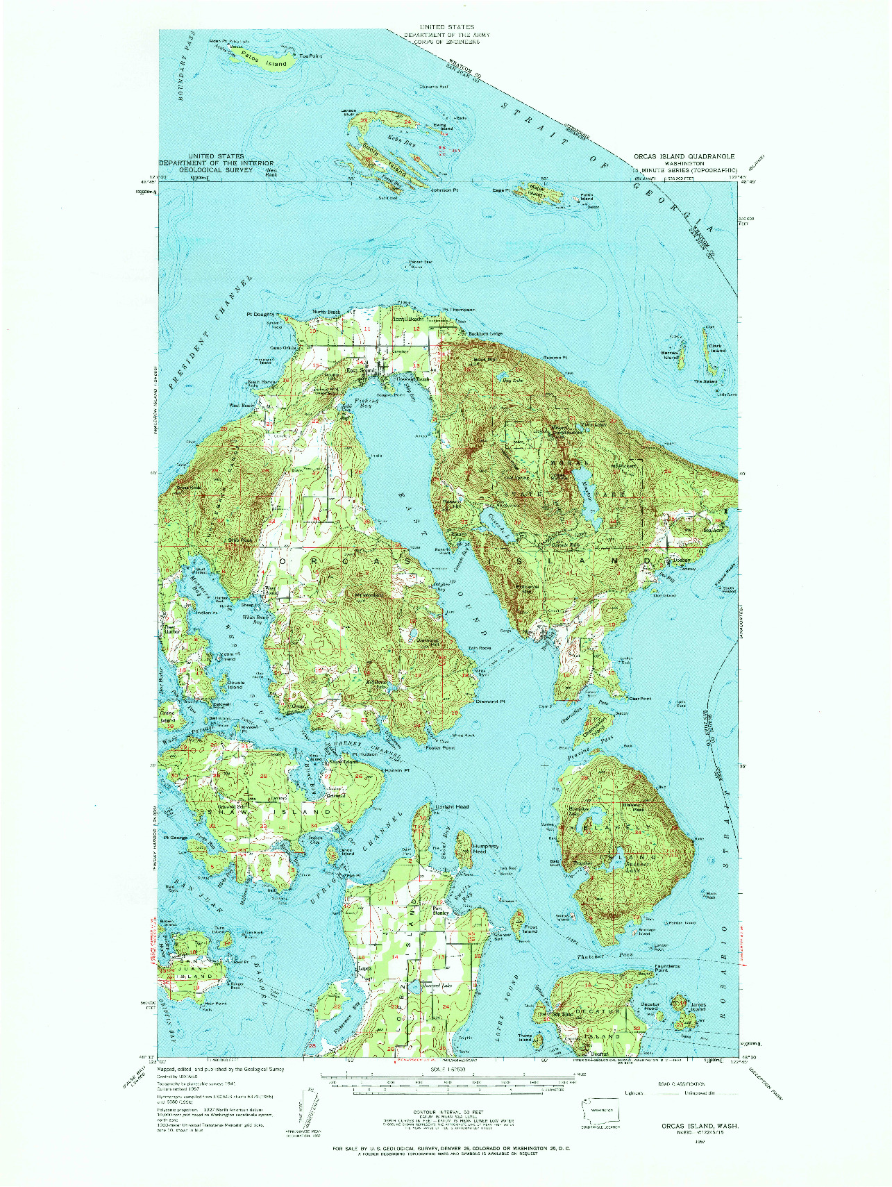USGS 1:62500-SCALE QUADRANGLE FOR ORCAS ISLAND, WA 1957
