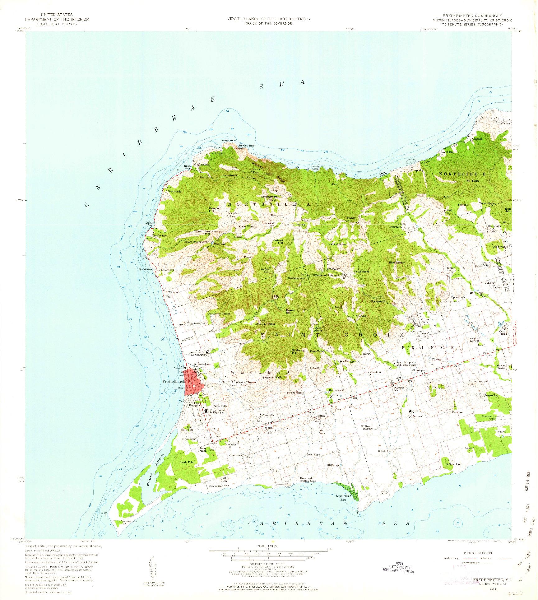 USGS 1:24000-SCALE QUADRANGLE FOR FREDERIKSTED, VI 1958