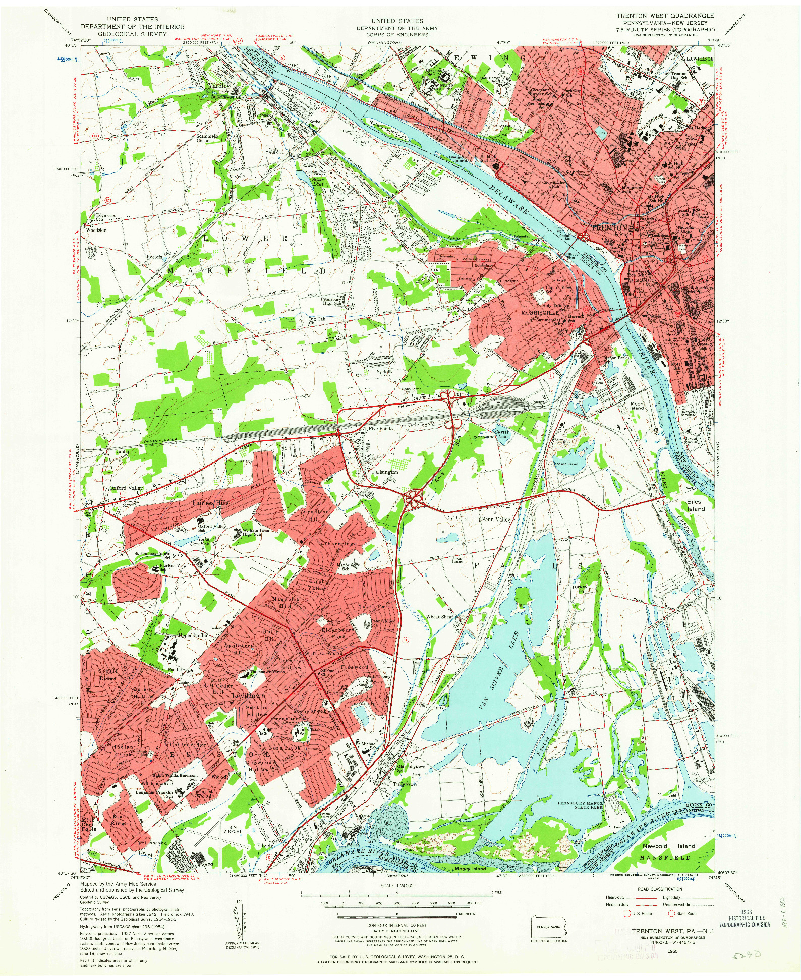 USGS 1:24000-SCALE QUADRANGLE FOR TRENTON WEST, PA 1955
