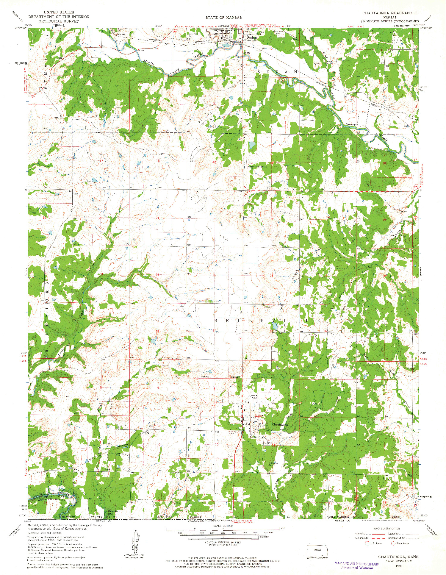 USGS 1:24000-SCALE QUADRANGLE FOR CHAUTAUQUA, KS 1962
