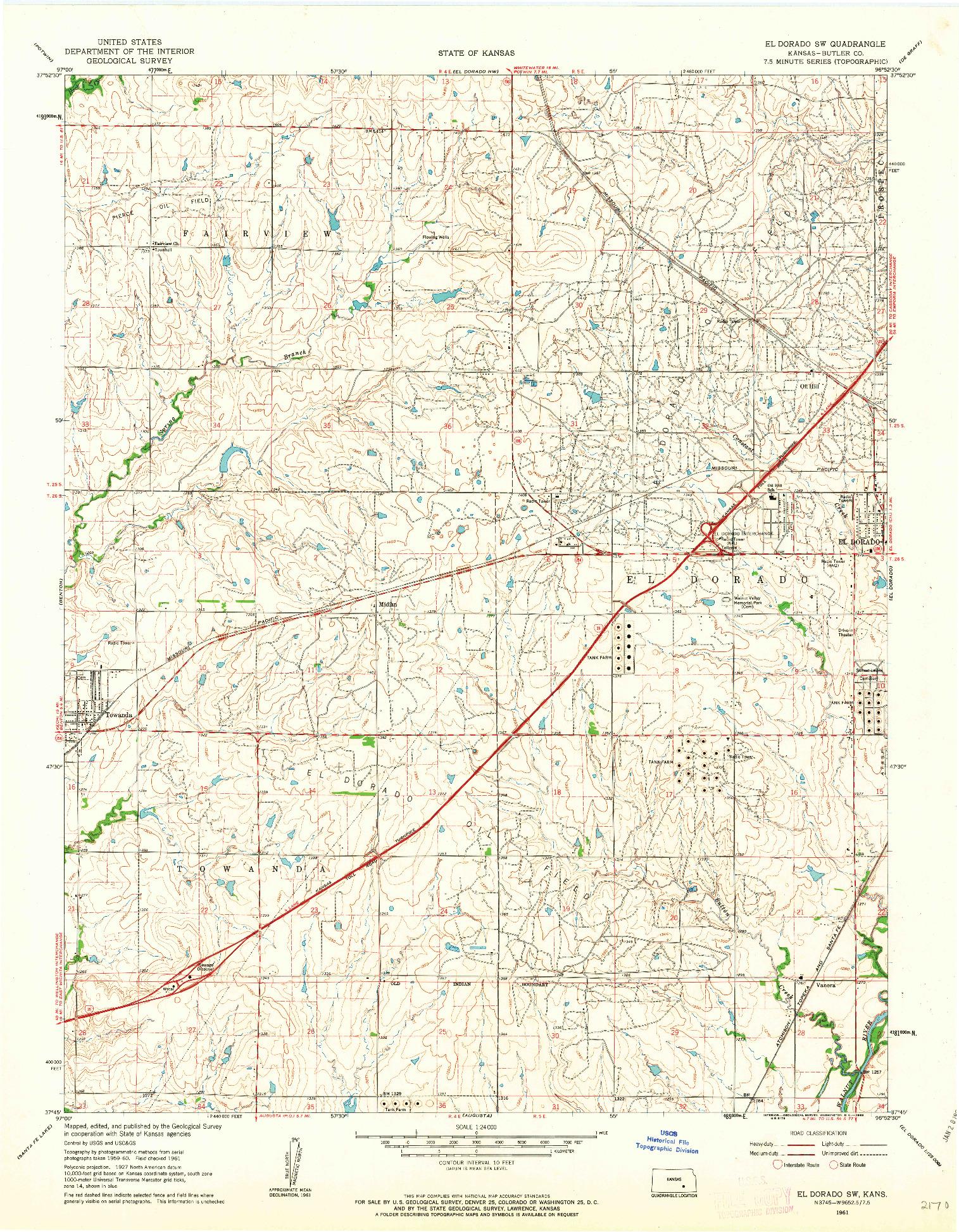 USGS 1:24000-SCALE QUADRANGLE FOR EL DORADO SW, KS 1961