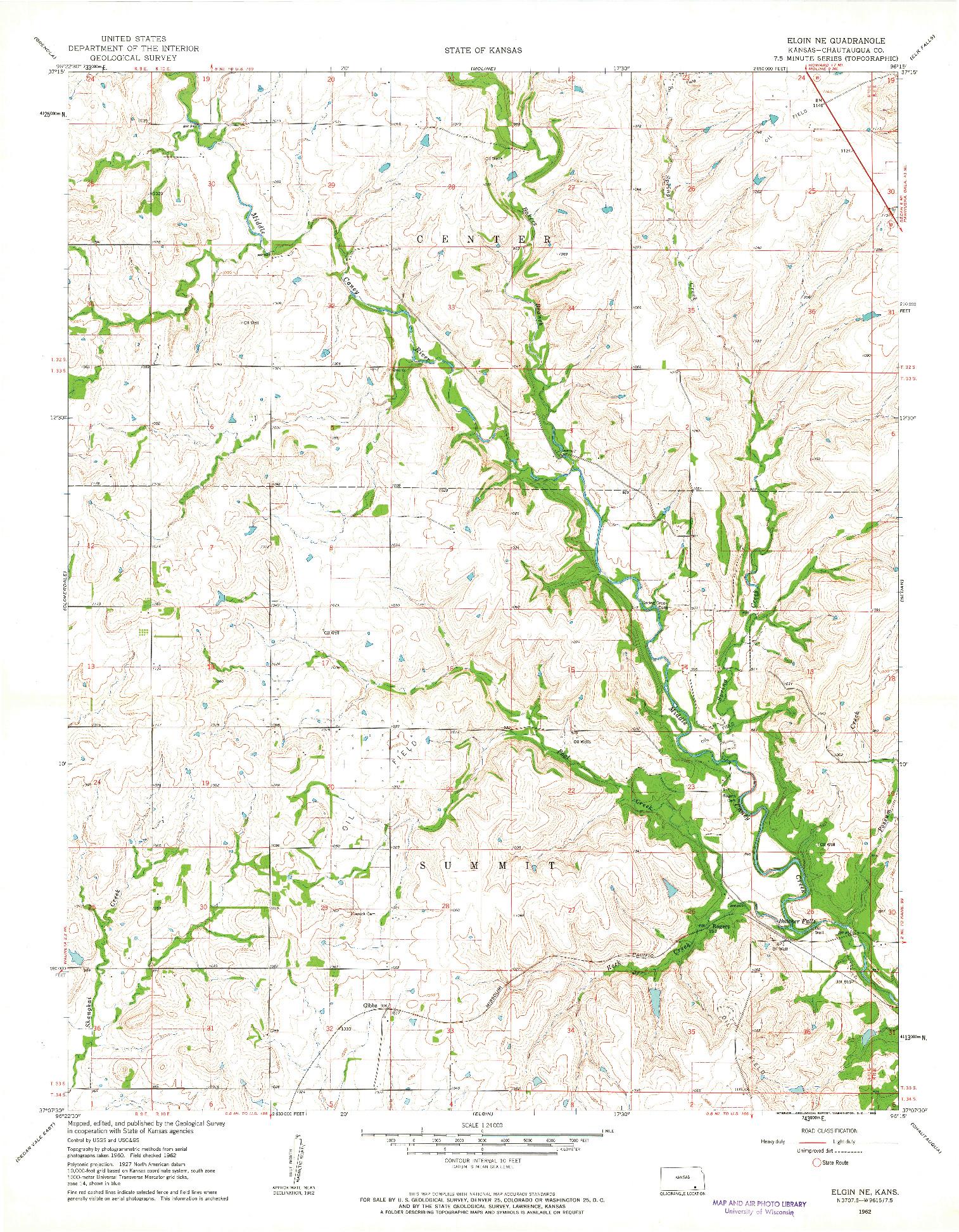 USGS 1:24000-SCALE QUADRANGLE FOR ELGIN NE, KS 1962