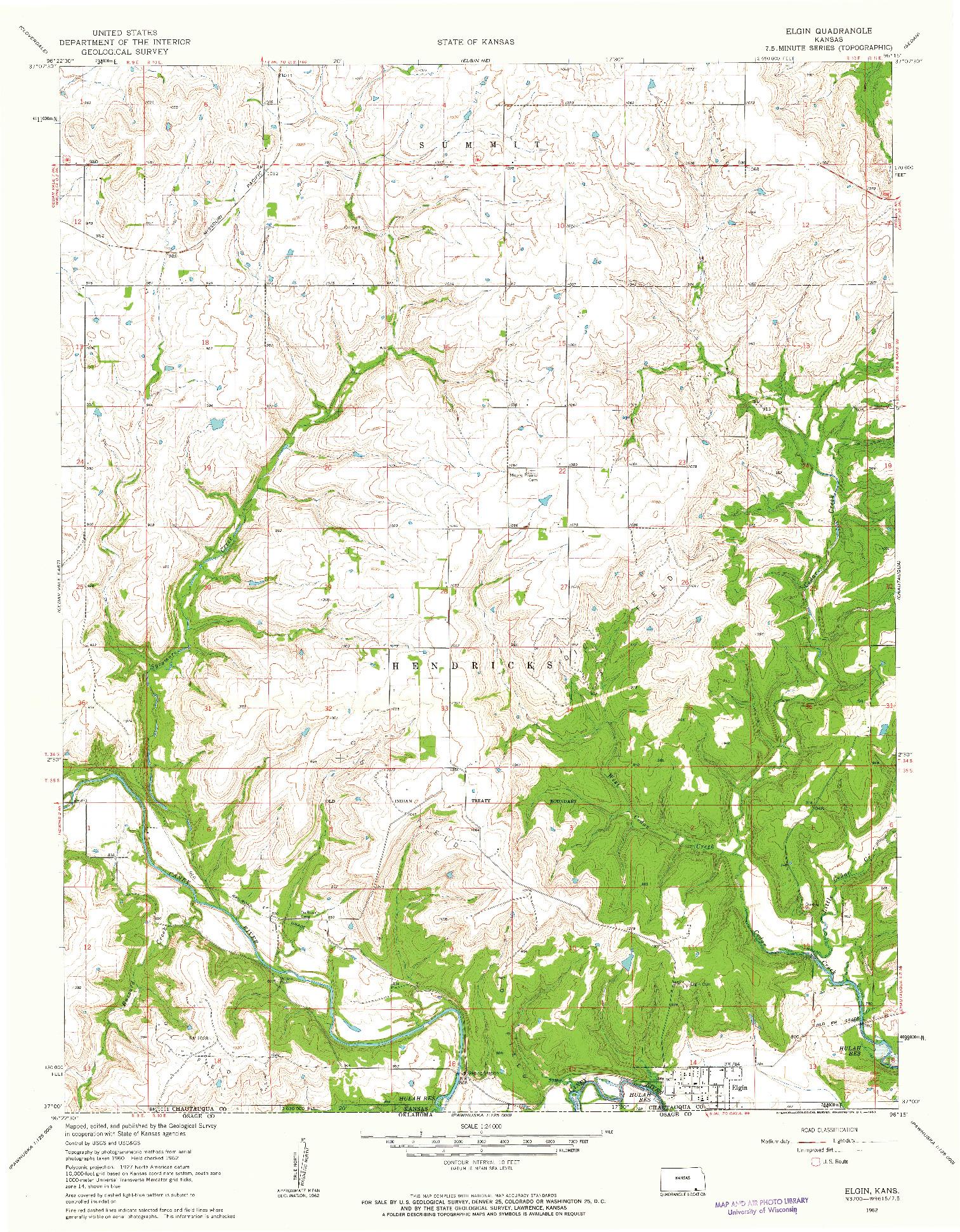 USGS 1:24000-SCALE QUADRANGLE FOR ELGIN, KS 1962