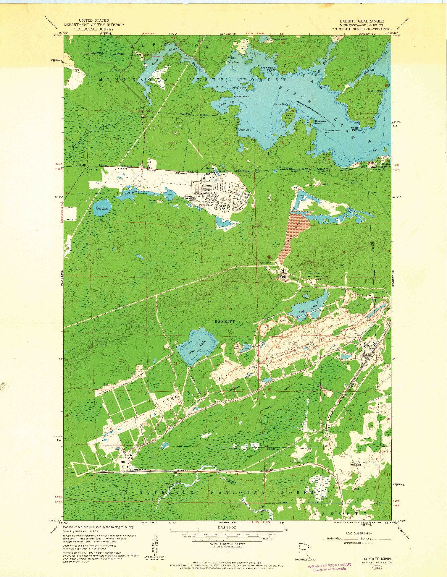 USGS 1:24000-SCALE QUADRANGLE FOR BABBITT, MN 1962
