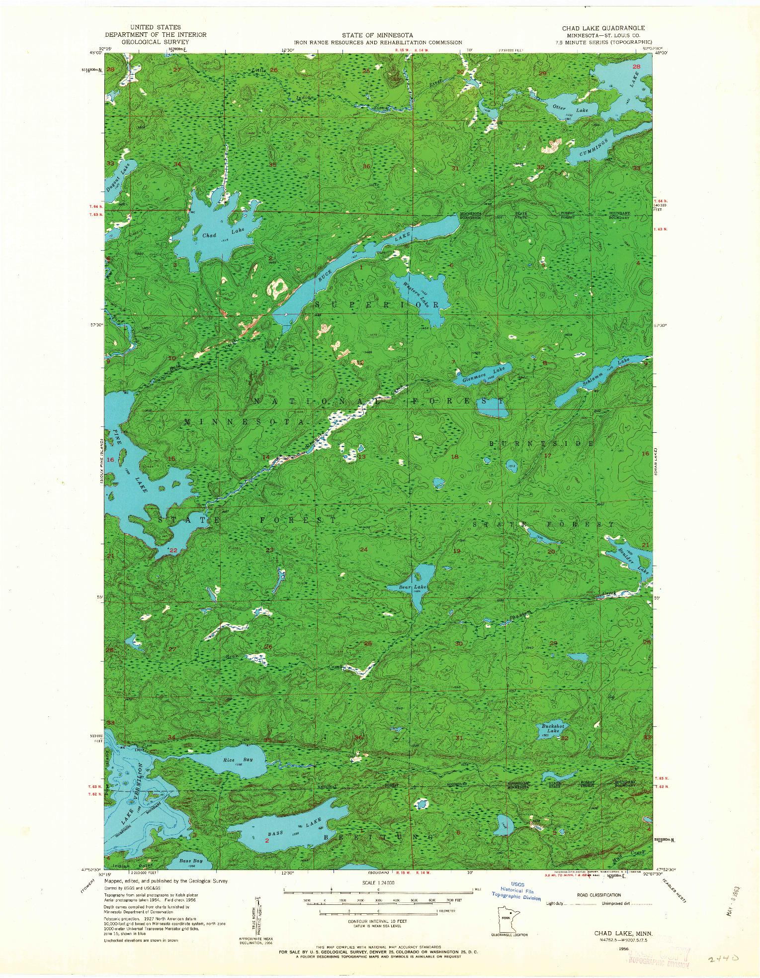 USGS 1:24000-SCALE QUADRANGLE FOR CHAD LAKE, MN 1956