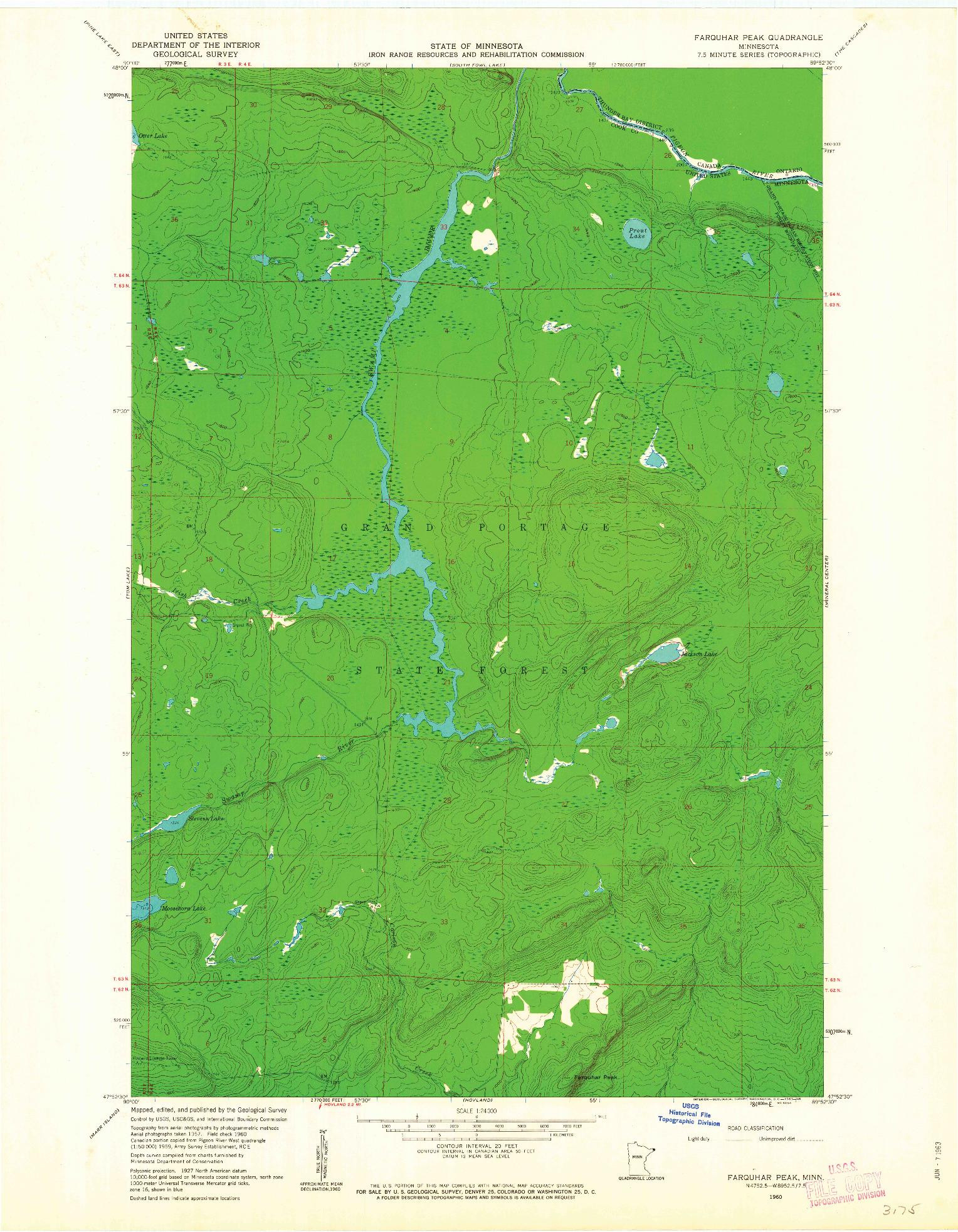 USGS 1:24000-SCALE QUADRANGLE FOR FARQUHAR PEAK, MN 1960