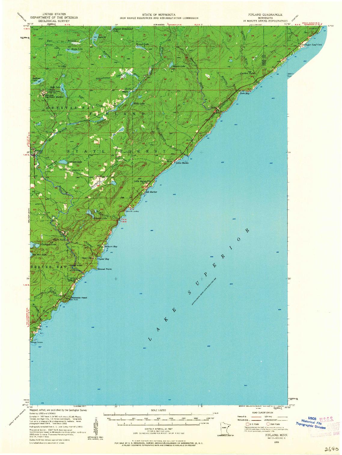 USGS 1:62500-SCALE QUADRANGLE FOR FINLAND, MN 1956