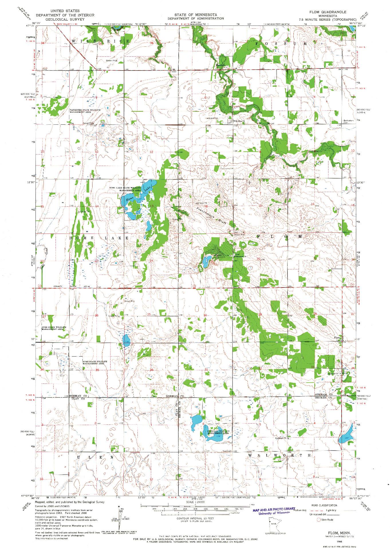 USGS 1:24000-SCALE QUADRANGLE FOR FLOM, MN 1966