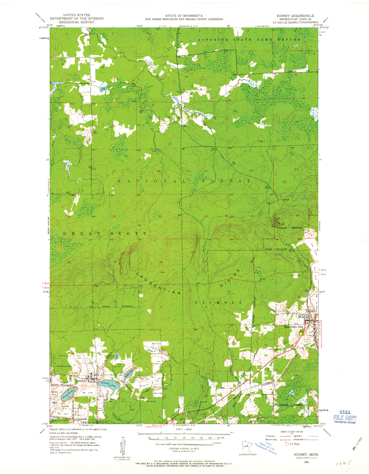 USGS 1:24000-SCALE QUADRANGLE FOR KINNEY, MN 1951