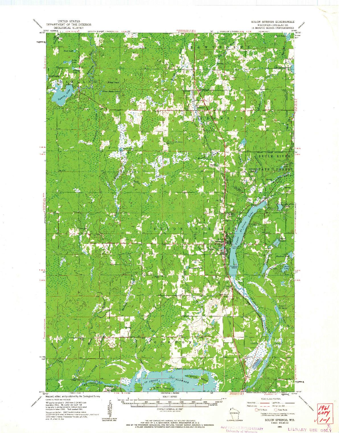 USGS 1:62500-SCALE QUADRANGLE FOR SOLON SPRINGS, WI 1961