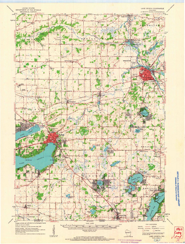 USGS 1:62500-SCALE QUADRANGLE FOR LAKE GENEVA, WI 1960