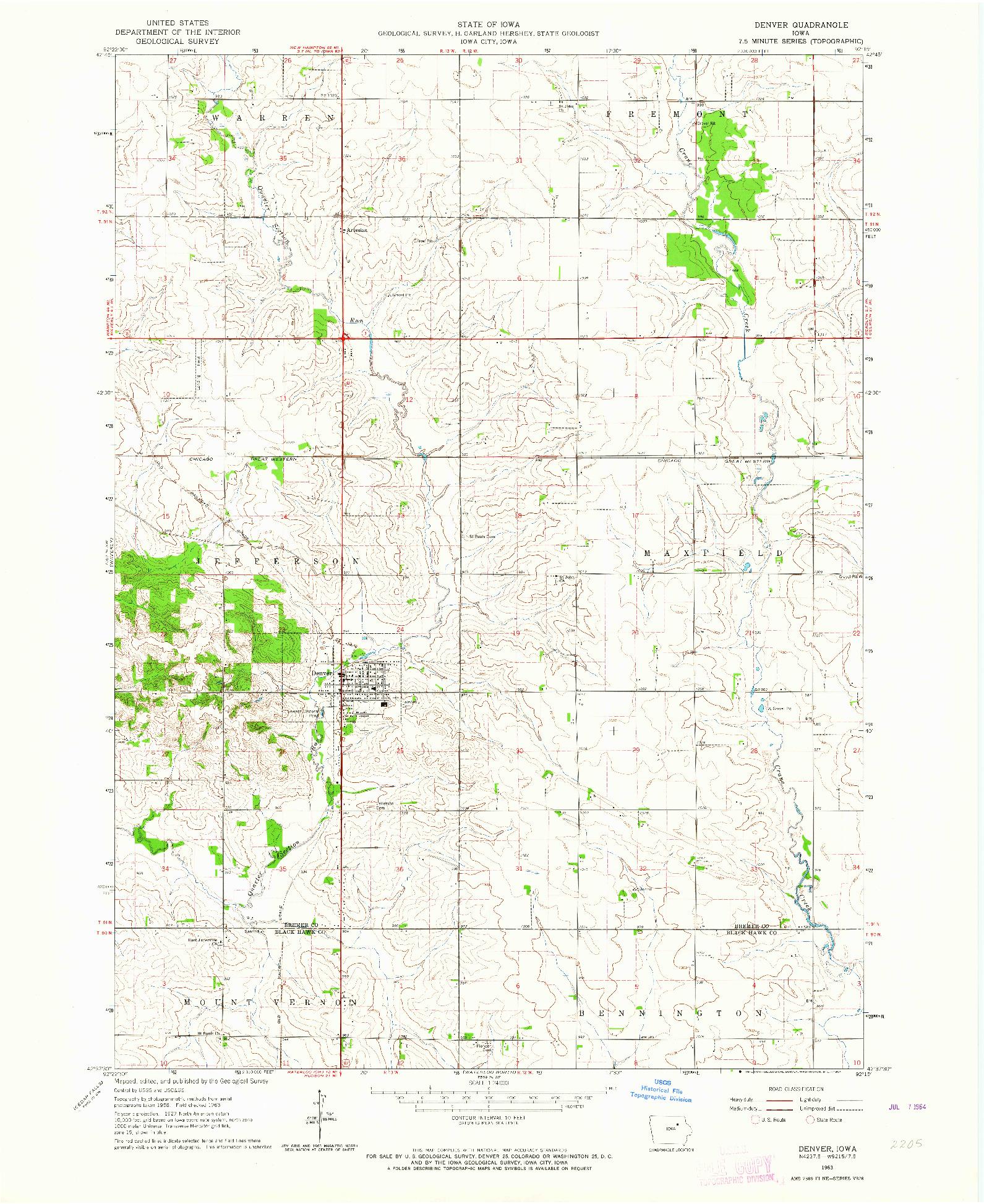 USGS 1:24000-SCALE QUADRANGLE FOR DENVER, IA 1963