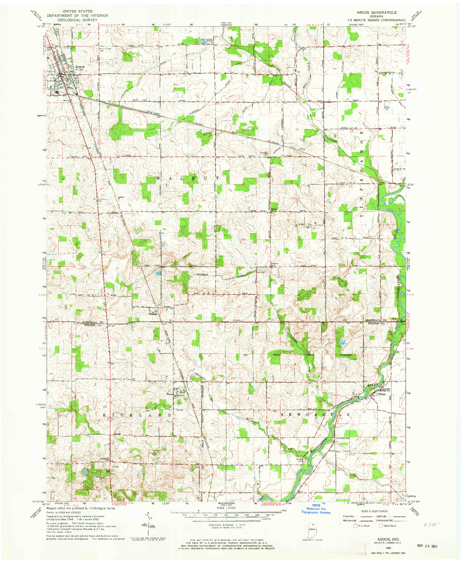 USGS 1:24000-SCALE QUADRANGLE FOR ARGOS, IN 1962
