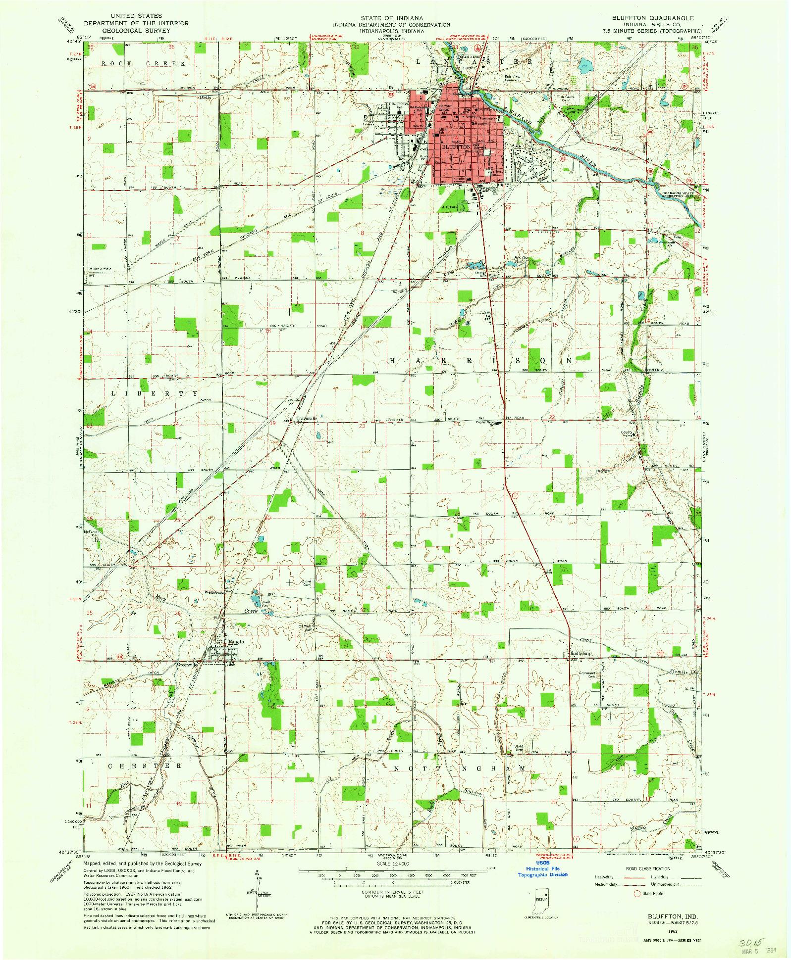 USGS 1:24000-SCALE QUADRANGLE FOR BLUFFTON, IN 1962