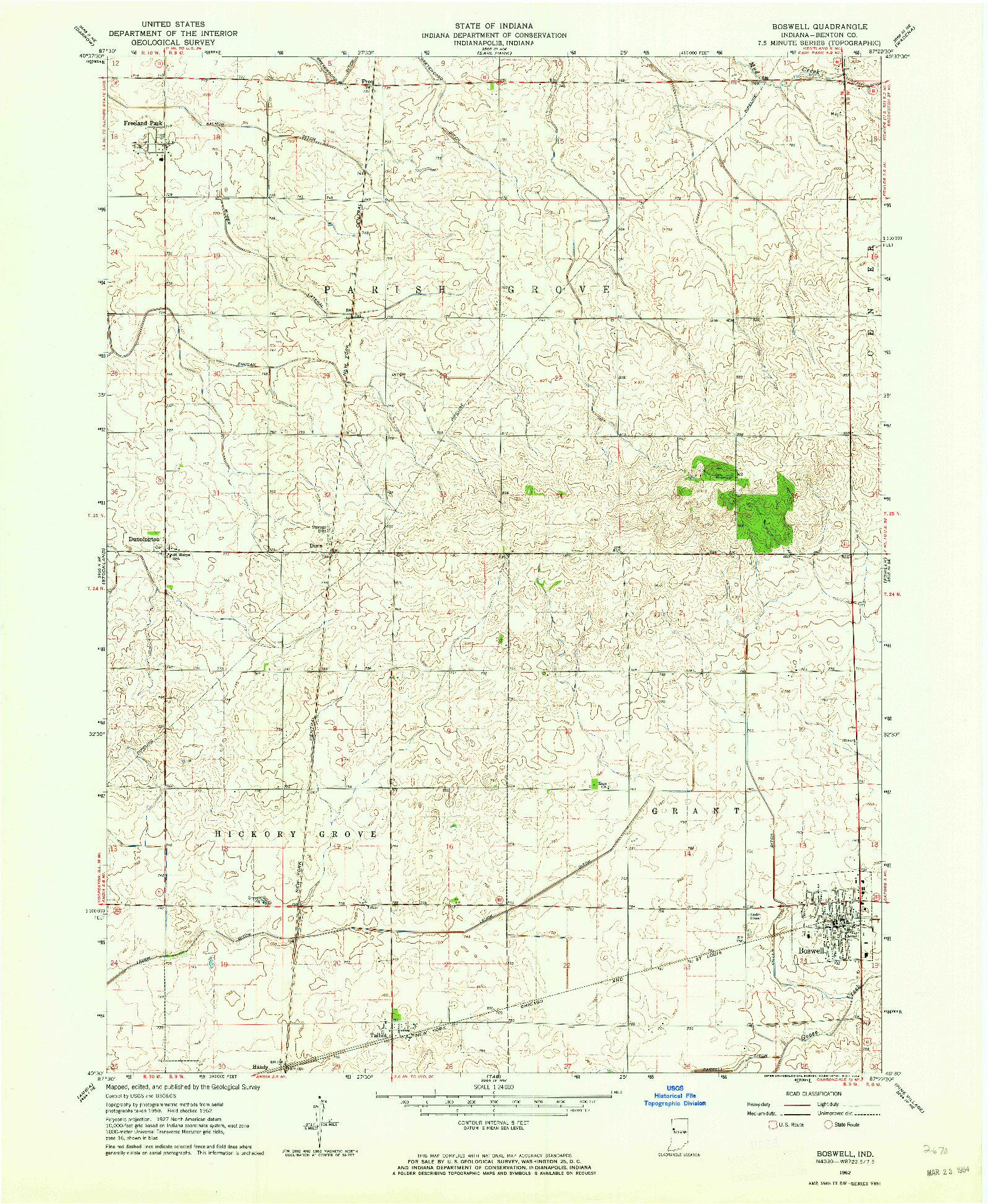 USGS 1:24000-SCALE QUADRANGLE FOR BOSWELL, IN 1962