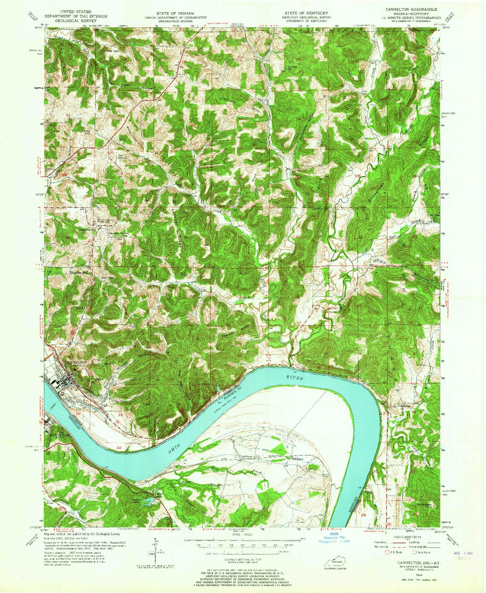 USGS 1:24000-SCALE QUADRANGLE FOR CANNELTON, IN 1953