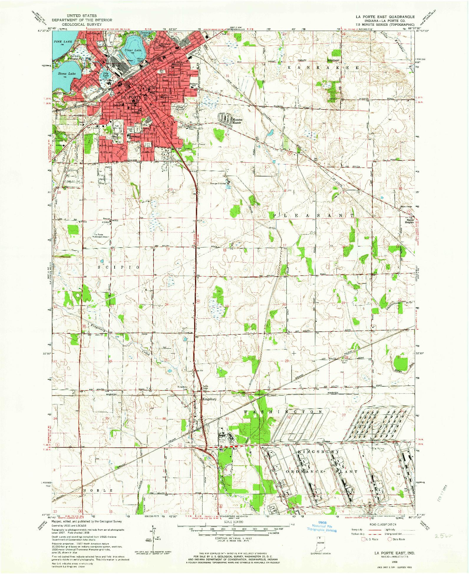 USGS 1:24000-SCALE QUADRANGLE FOR LA PORTE EAST, IN 1958