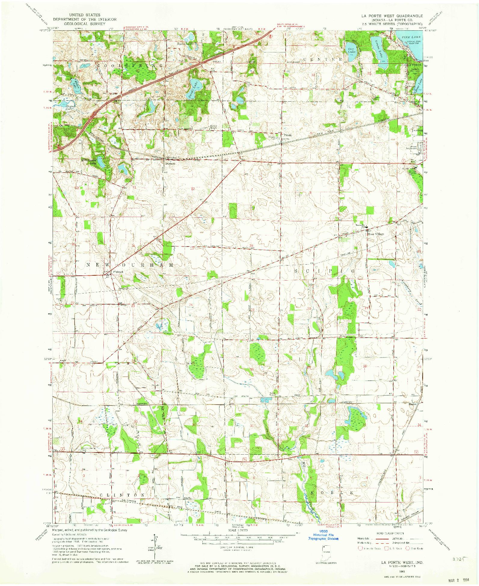 USGS 1:24000-SCALE QUADRANGLE FOR LA PORTE WEST, IN 1961