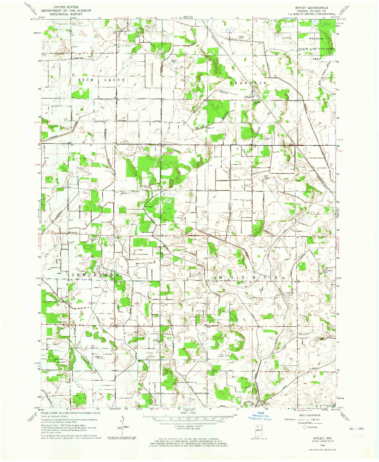 USGS 1:24000-SCALE QUADRANGLE FOR RIPLEY, IN 1962