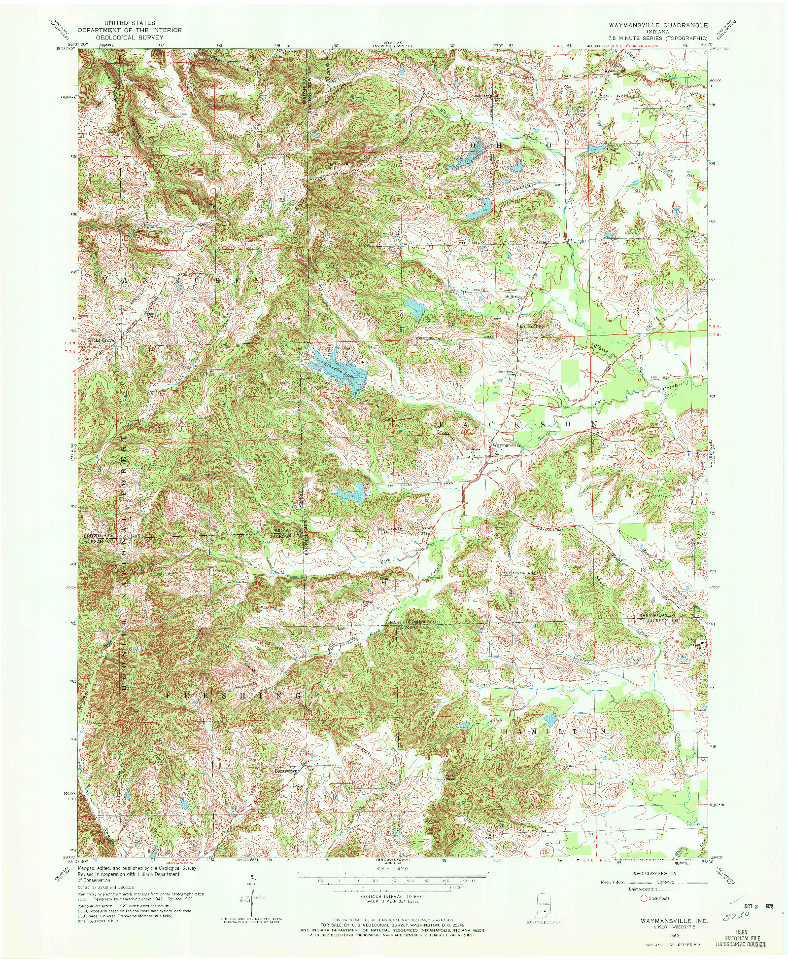 USGS 1:24000-SCALE QUADRANGLE FOR WAYMANSVILLE, IN 1962