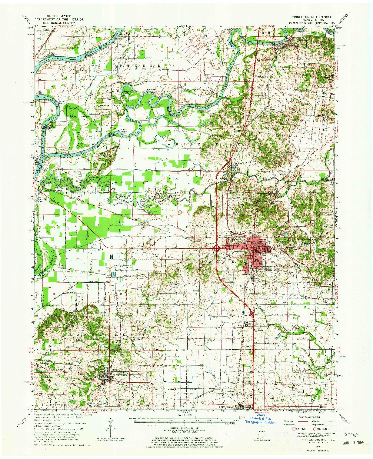 USGS 1:62500-SCALE QUADRANGLE FOR PRINCETON, IN 1959