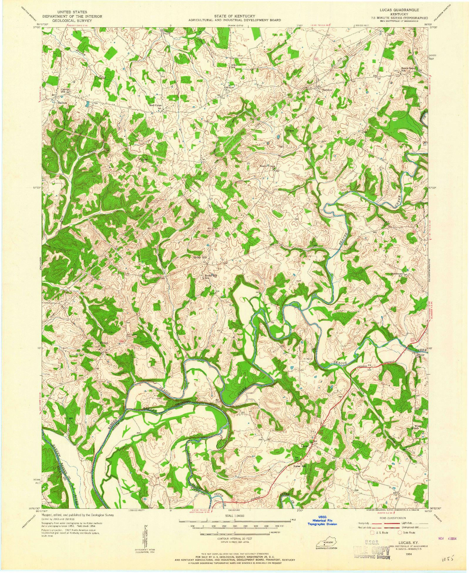 USGS 1:24000-SCALE QUADRANGLE FOR LUCAS, KY 1954