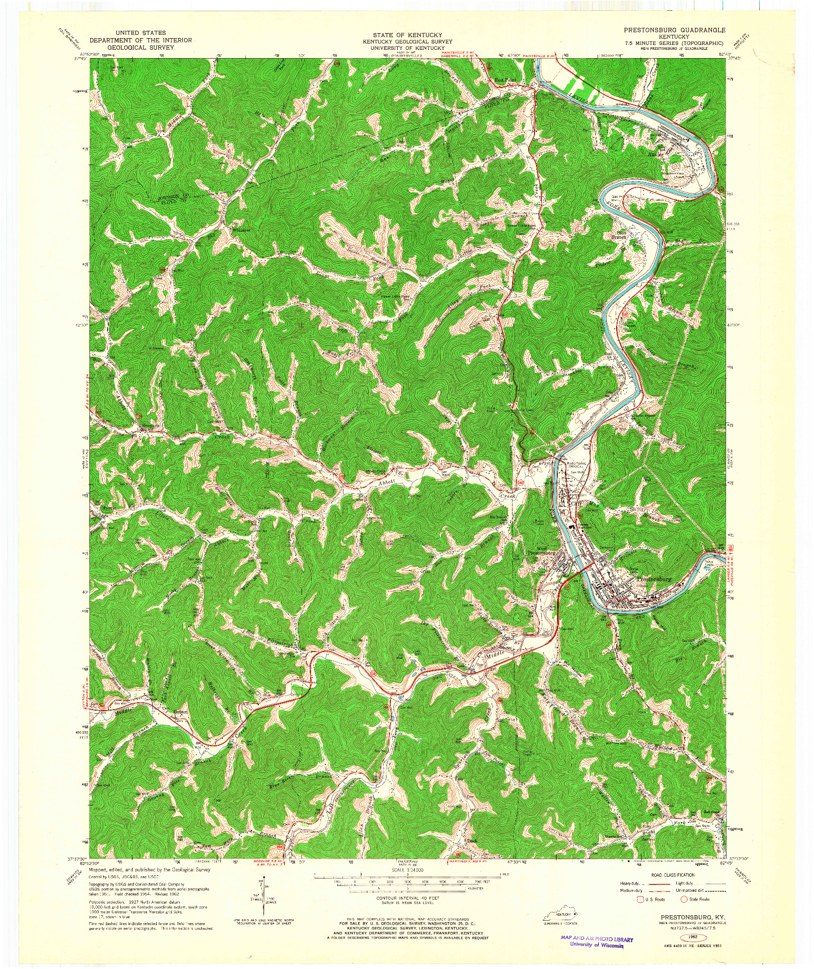 USGS 1:24000-SCALE QUADRANGLE FOR PRESTONSBURG, KY 1962