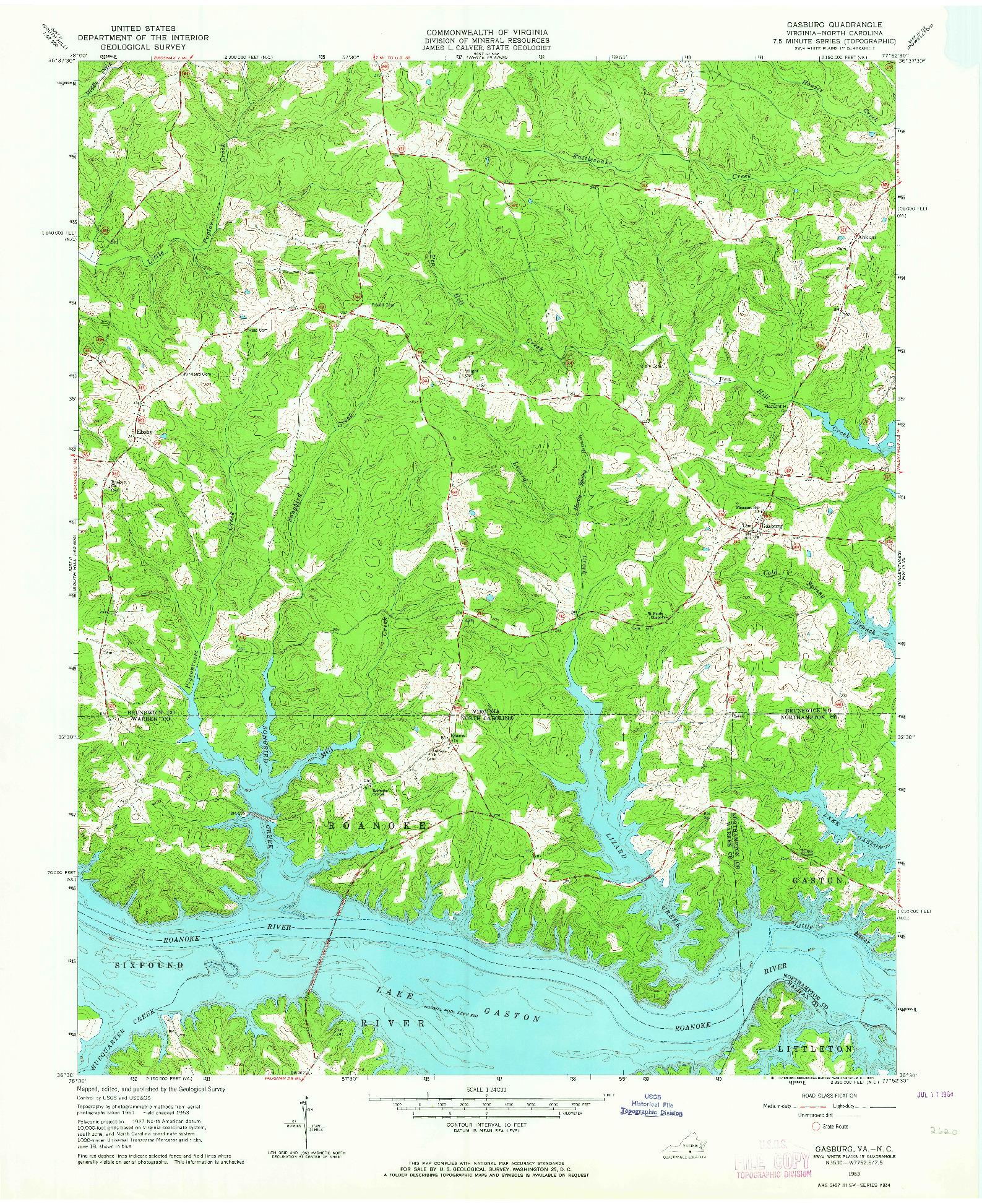 USGS 1:24000-SCALE QUADRANGLE FOR GASBURG, VA 1963