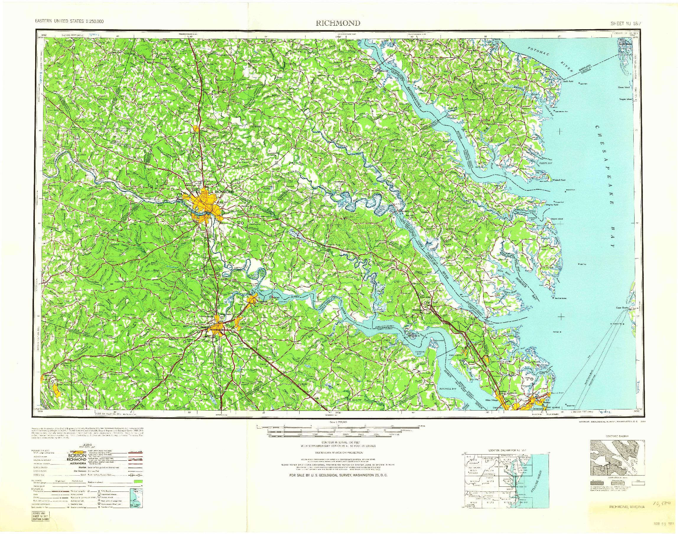 USGS 1:250000-SCALE QUADRANGLE FOR RICHMOND, VA 1964