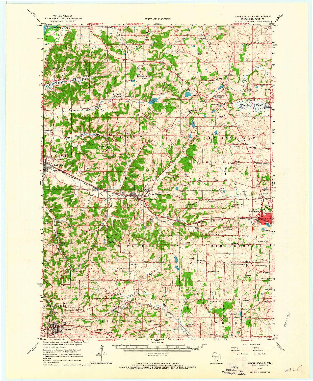 USGS 1:62500-SCALE QUADRANGLE FOR CROSS PLAINS, WI 1962