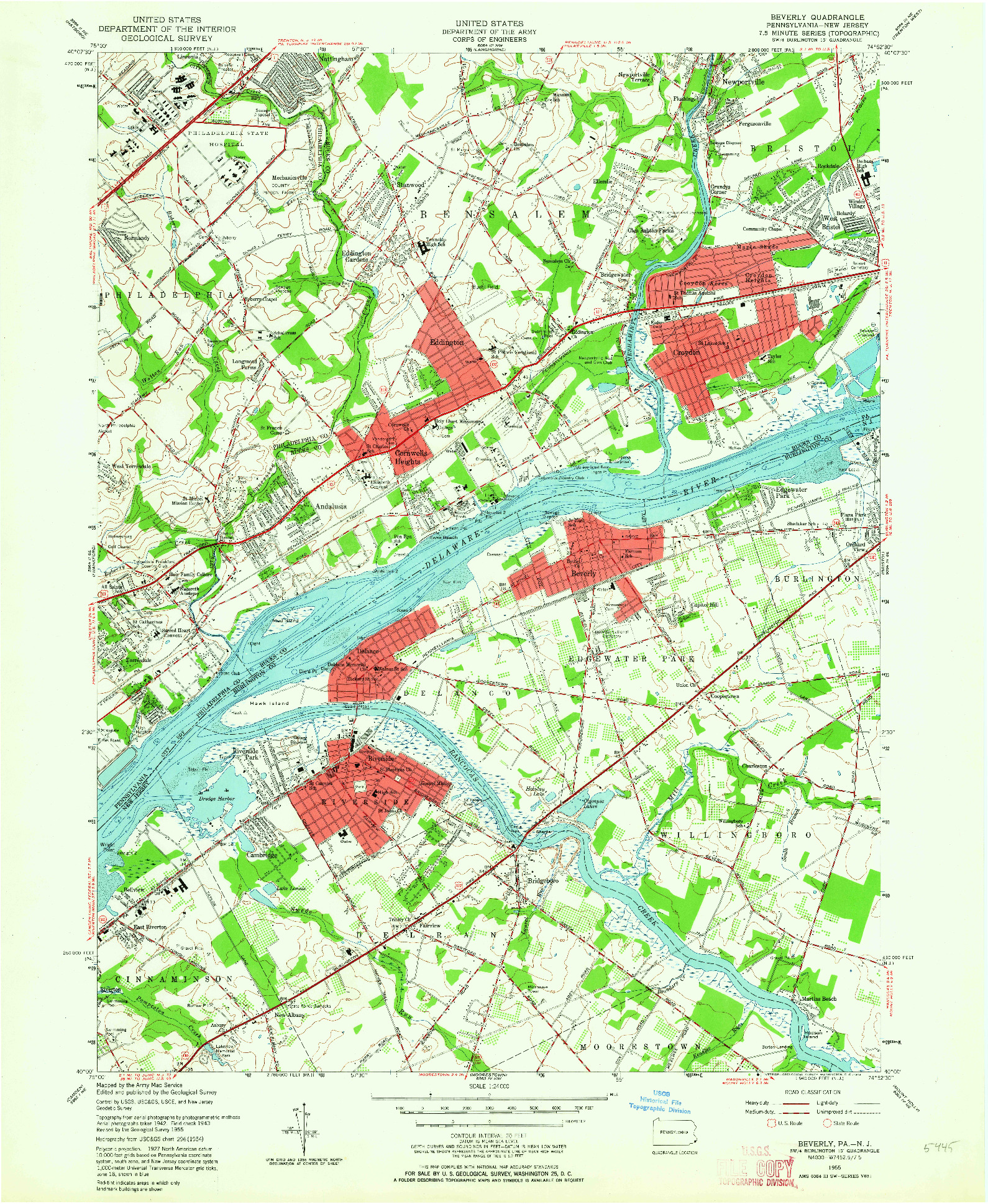 USGS 1:24000-SCALE QUADRANGLE FOR BEVERLY, PA 1955