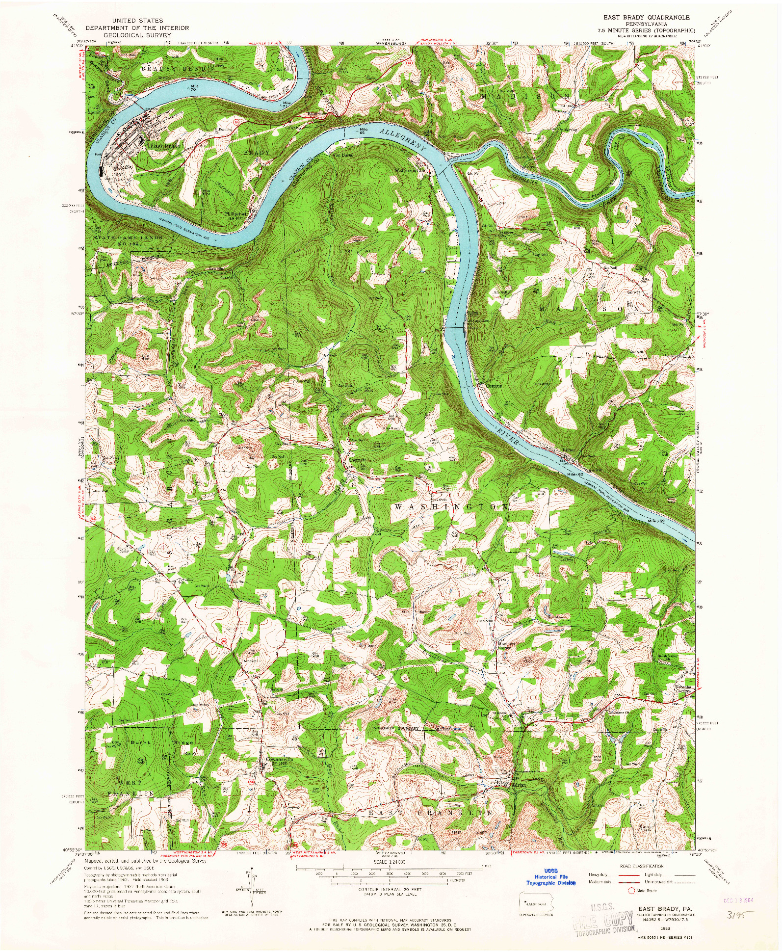 USGS 1:24000-SCALE QUADRANGLE FOR EAST BRADY, PA 1963