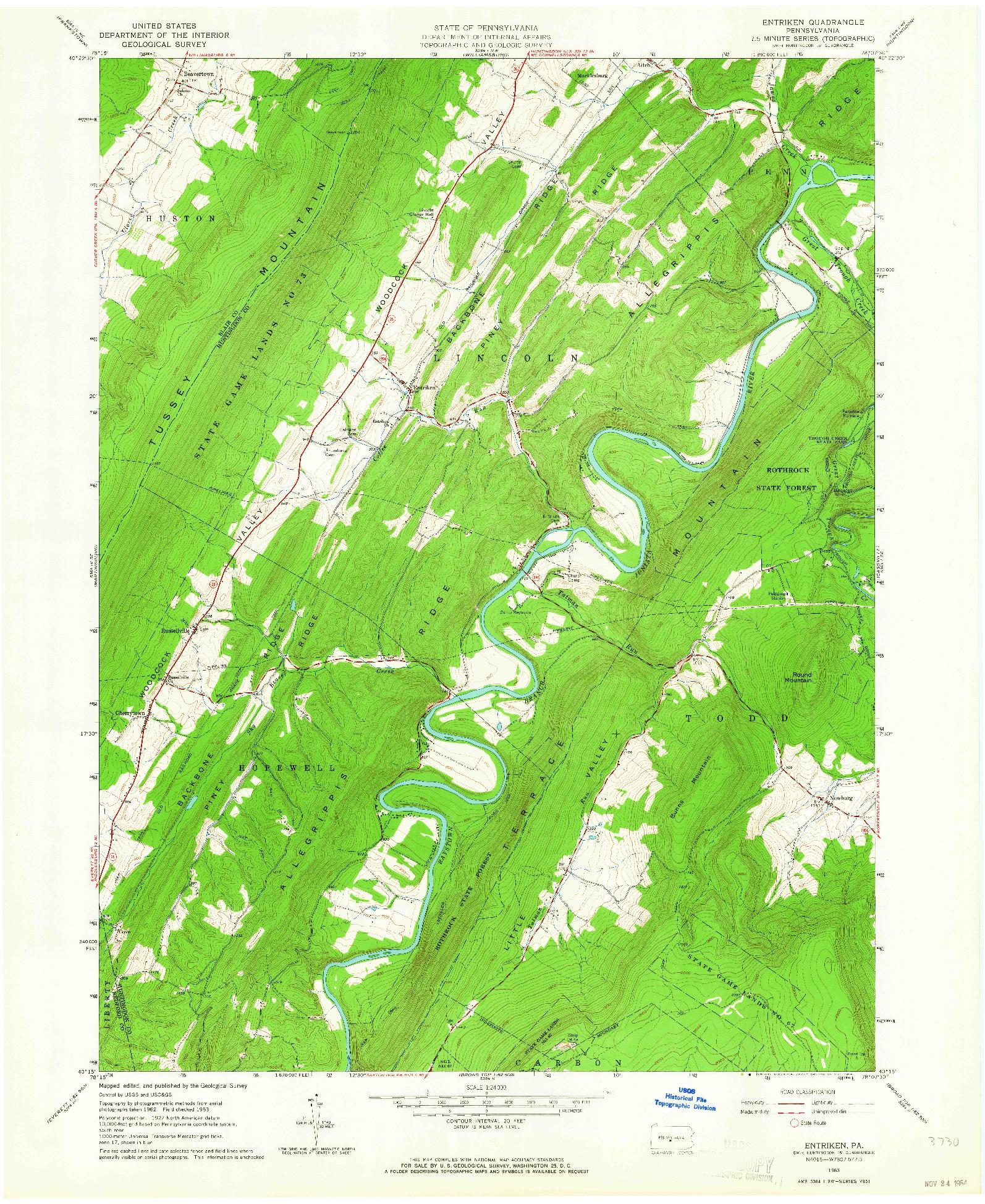 USGS 1:24000-SCALE QUADRANGLE FOR ENTRIKEN, PA 1963