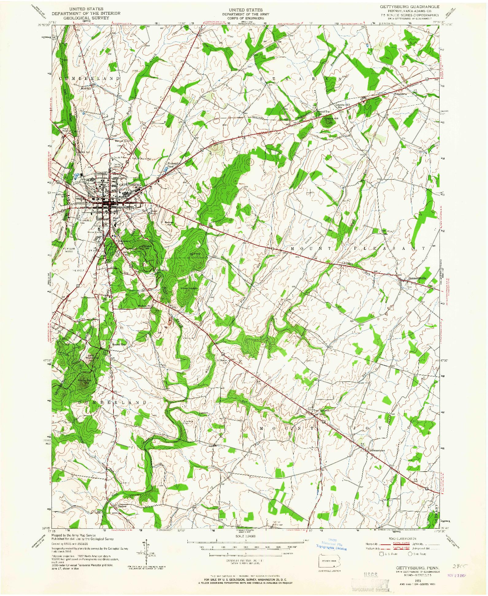 USGS 1:24000-SCALE QUADRANGLE FOR GETTYSBURG, PA 1951