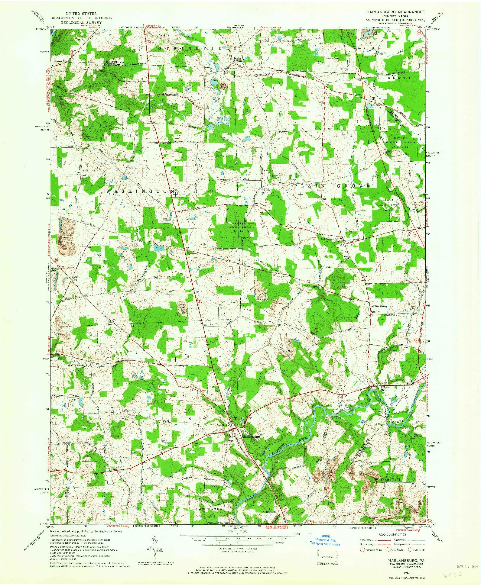 USGS 1:24000-SCALE QUADRANGLE FOR HARLANSBURG, PA 1961