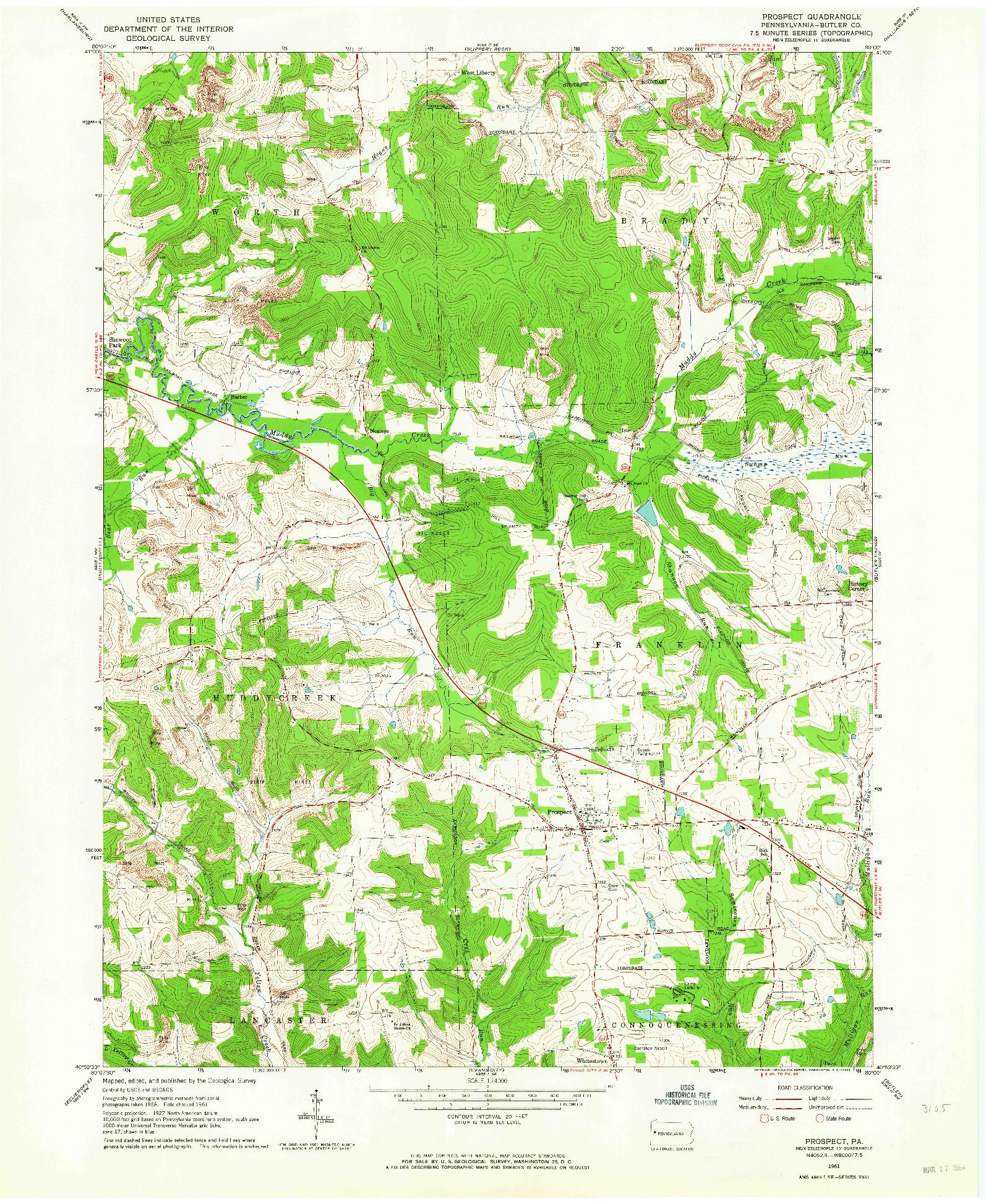 USGS 1:24000-SCALE QUADRANGLE FOR PROSPECT, PA 1961