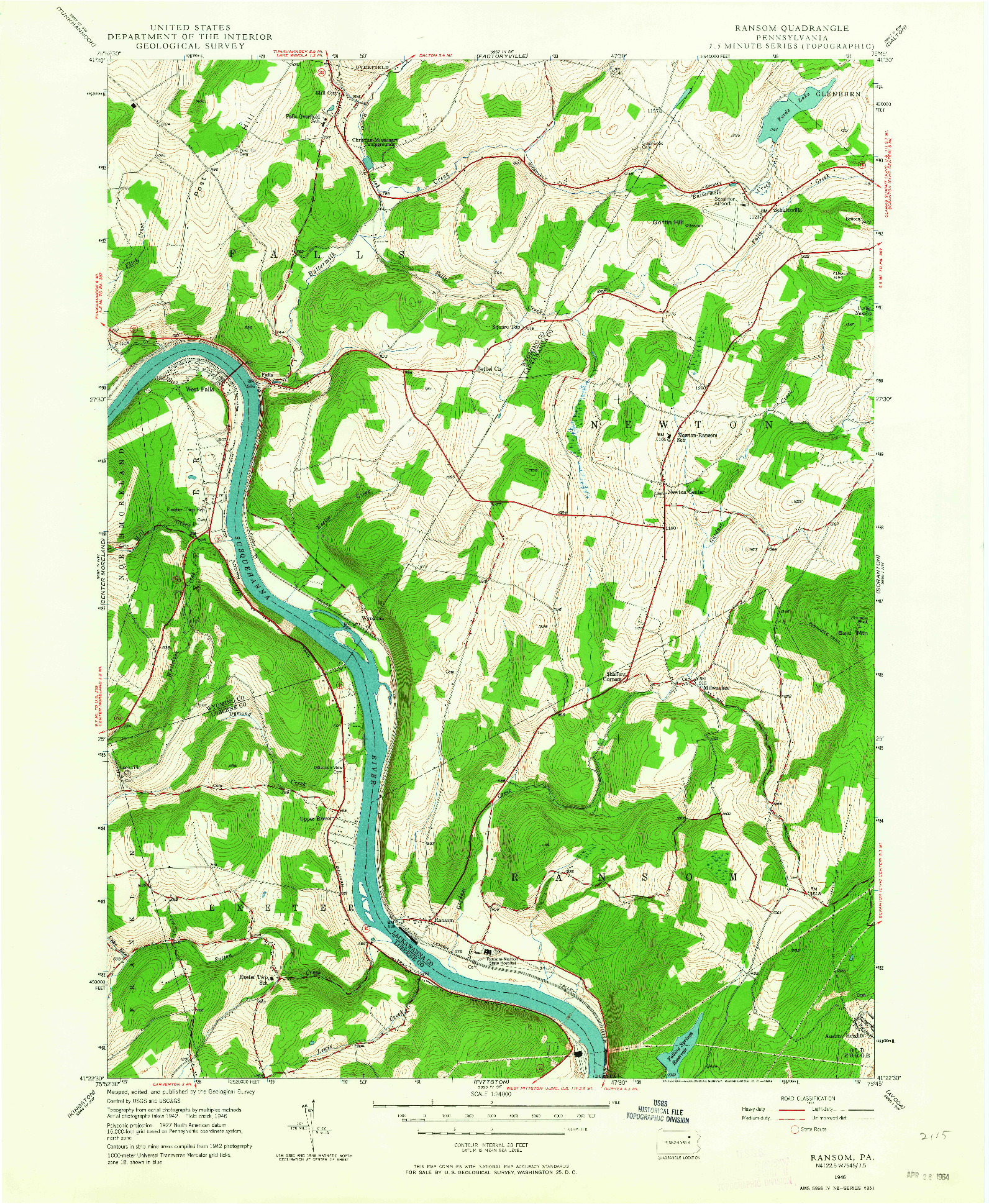 USGS 1:24000-SCALE QUADRANGLE FOR RANSOM, PA 1946