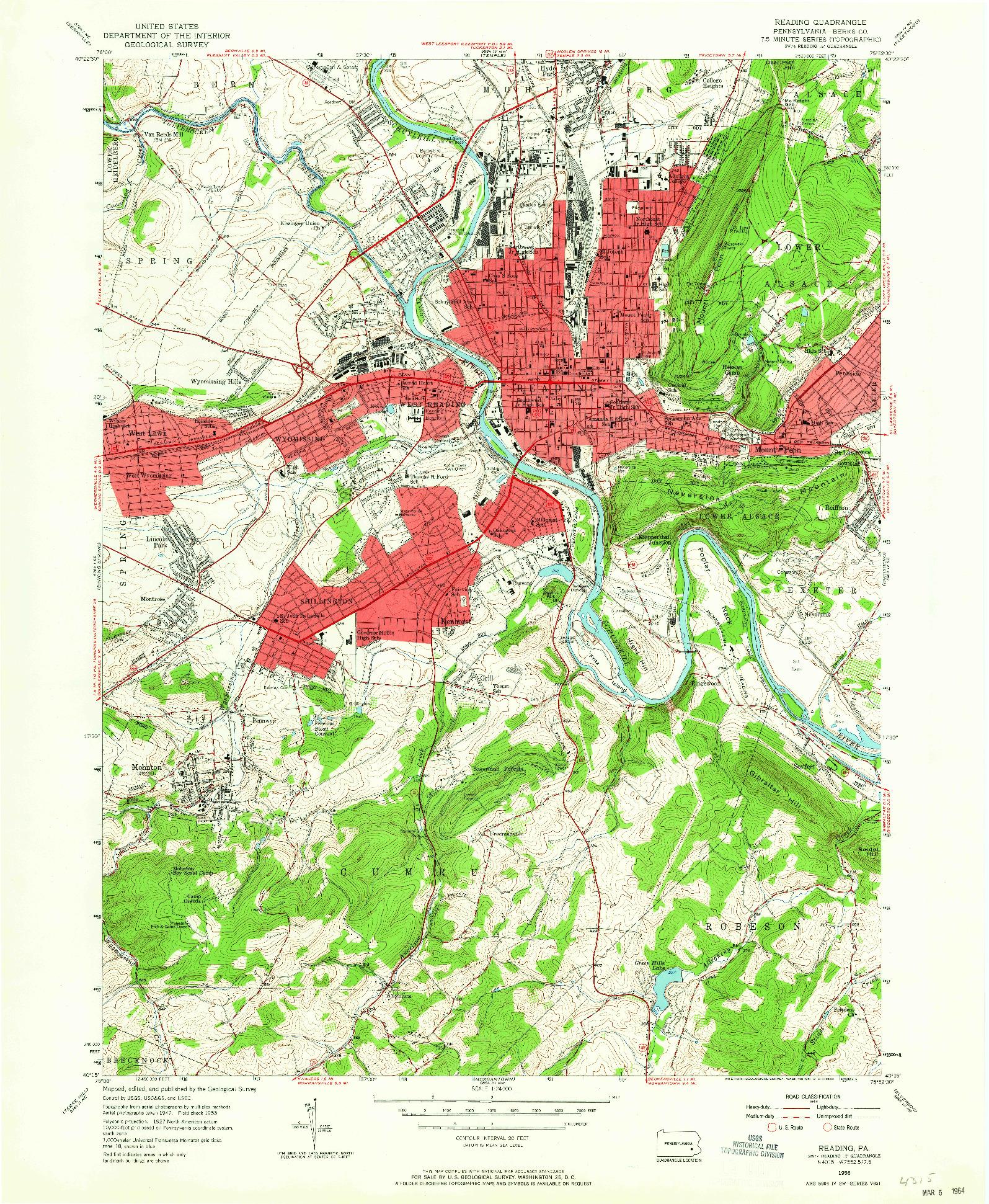 USGS 1:24000-SCALE QUADRANGLE FOR READING, PA 1956