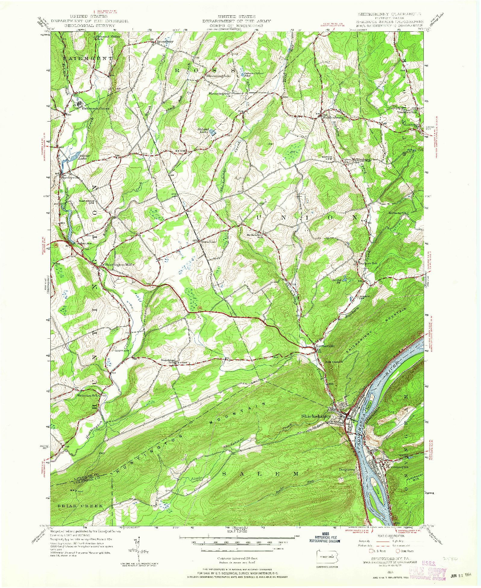 USGS 1:24000-SCALE QUADRANGLE FOR SHICKSHINNY, PA 1954